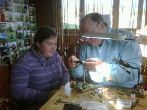 Hilary tying her first fly at Chatton Fishery