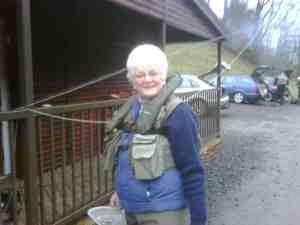 Marion wearing her life vest at Tweedswood