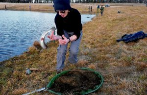 Mary Harris with her first rainbow trout