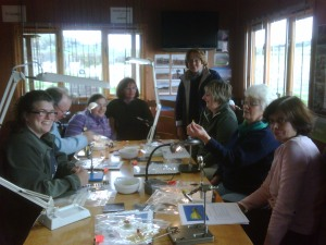 ladies fly tying with Paul at Chatton