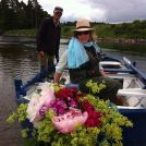 flowers on the front of the boats