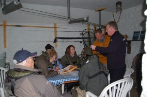 Glen talking flies in the bothy