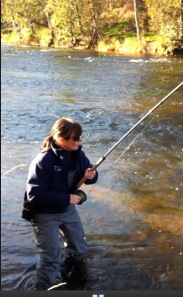 Fish on the River Till wearing Patagonia ladies waders