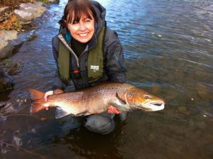 Patagonia Ladies Wading Jacket and Waders on the River Tweed