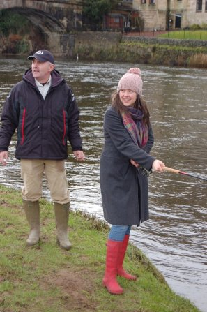 Hywel Morgan introducing the minister for children to fishing